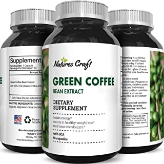 Natural Raw Green Coffee Bean Extract - Extra Strength Pure Premium Antioxidant Beans - 800 mg Max Fat Burner Supplement Super Cleanse Pills for Weight Loss Benefits Reviews - Nature Berg