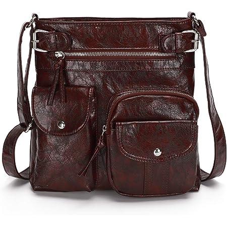 KL928 Damen Umhängetaschen Weiches Leder Henkeltaschen Handtasche Geldbörse Crossover Taschen für Mädchen oder Frauen (brown-größer)