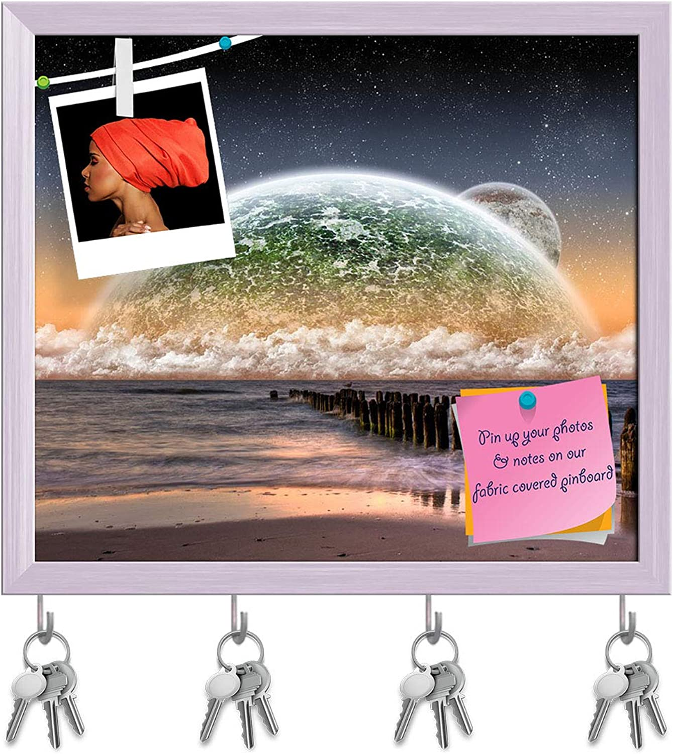 Artzfolio Planet Landscape View from A Beautiful Beach D2 Key Holder Hooks   Notice Pin Board   White Frame 18.2 X 16Inch