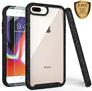 iPhone 7 Plus Case,iPhone 8 Plus Case with Tempered Glass Screen Protector [2 Pack],LUCKYCAT Shockproof Clear Multicolor Series Bumper Cover for 5.5 Inch Apple iPhone 6/6s/7/8 Plus-Black