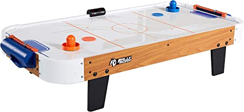 Rally and Roar Tabletop Air Hockey Table, Travel-Size, Lightweight, Plug-in - Mini Air-Powered Hockey Set with 2 Puck...