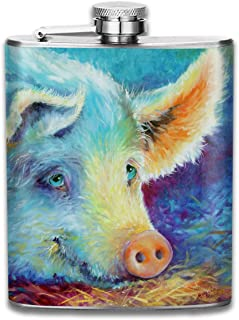 Steel Stainless Flask,Baby Colorful Pig Pocket Funnel,Screwed Top Liquor Alcohol Whiskey Spirits Hip for Men,7 OZ