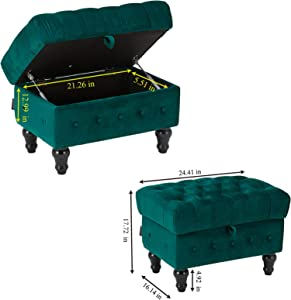 Artechworks Rectangular Storage Ottoman, Button Tufted Velvet Upholstery Footstool Bed Ottoman for Living Room, Home Office, Space-Saving Storage Toy Box Coffee Table Stool, Green