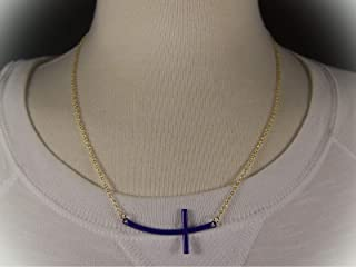 Purple Gold Tone Sideways Horizontal Cross Necklace Pendant 19.5-21.5