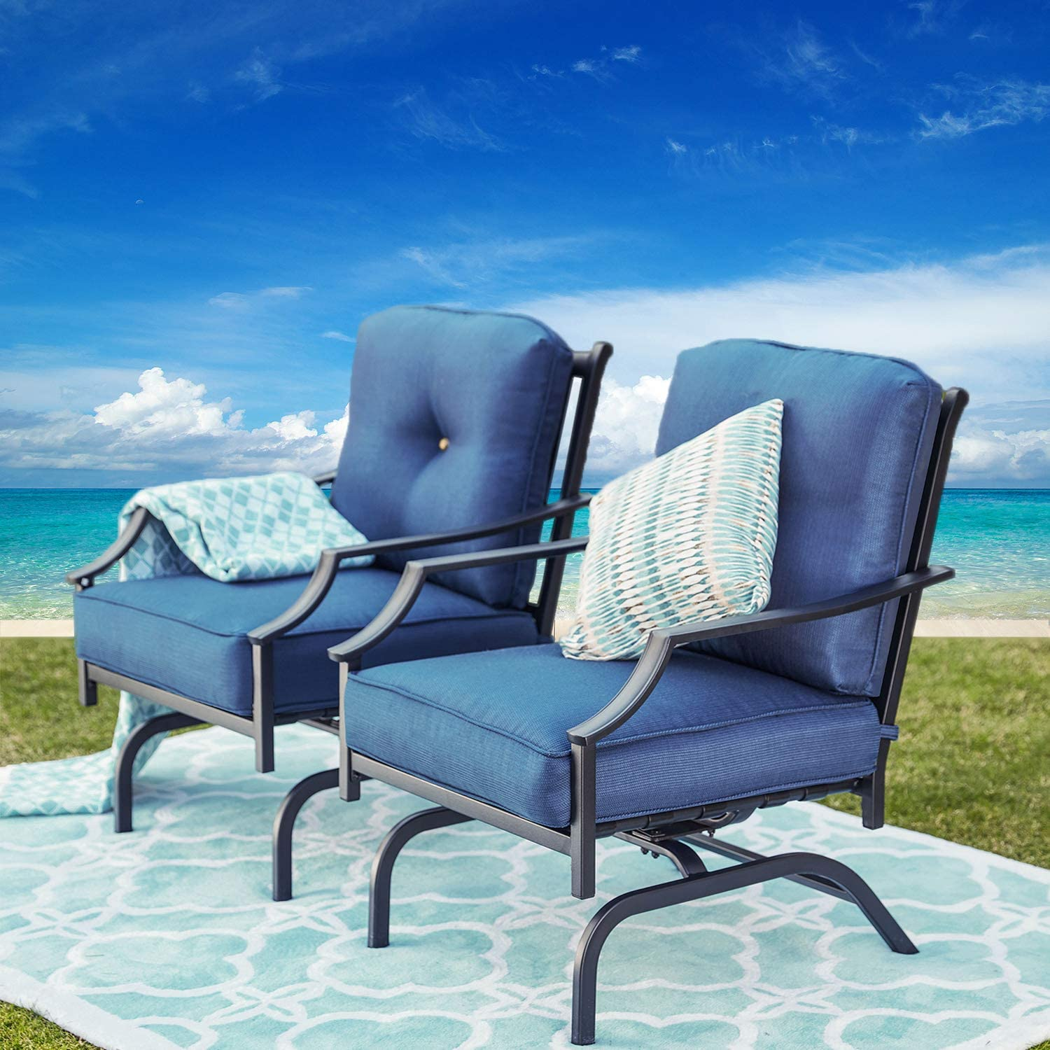 Festival Depot Patio Dining Chair Set with Surprise famous price Metal Armchairs 2 of