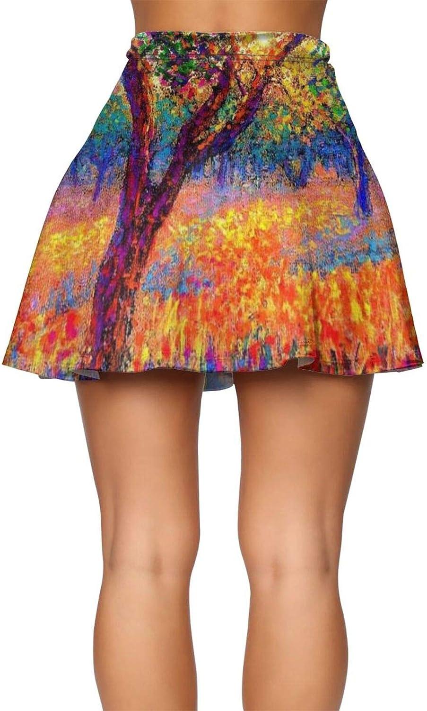 RHRFOL Evening Poppies Women's Basic Versatile Stretchy Flared Casual Mini Skater Skirt