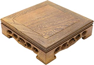 JETEHO Classical Chinese Wooden Display Stand, Square Solid Rosewood Wooden Vase Jar Stands Flower Pot Fish Bowl Base Home Decoration