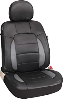 Platinum Vinyl Black/Grey One Faux Leather Front Seat Cover Universal for Car Truck SUV Front Seats - Leader Accessories