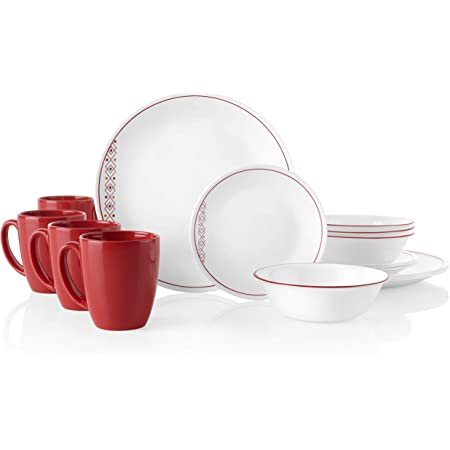Corelle Livingware 16 Piece Dinnerware Set Service For 4 Classic Cafe Red Corelle Cereal Bowls Kitchen Dining