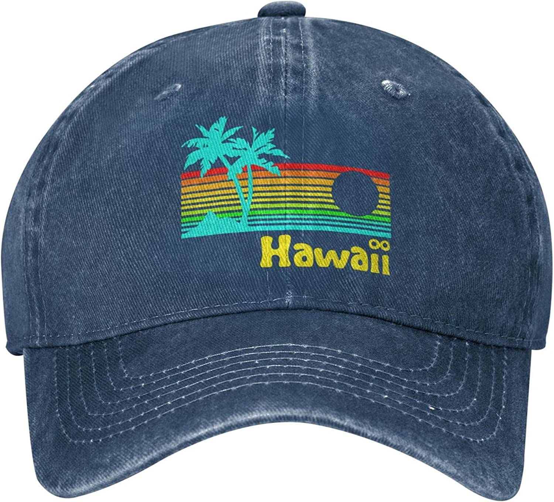 80s Retro Vintage Hawaii Unisex Cowboy Hat Baseball Caps Adjustable Outdoor Sports Golf Denim Cap Black