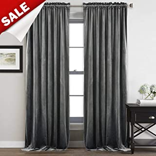 StangH 108-inch Long Grey Velvet Curtains - Heavy-Duty Blackout Velvet Drapes Heat & Chill Resistant Window Panels for Villa/Patio Door, 52 by 108-inch, 2 Pcs