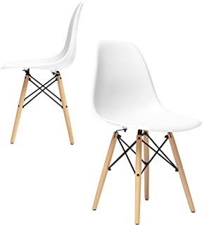 Set of 2 - Chelsea Eames DSW (Wood Legs) Molded Plastic Dining Side Chairs (White)