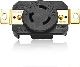 Aweking UL Listed NEMA L5-20R Receptacle Connector Socket,20A 20 Amp,AC 125V 125 Volt,2 Pole-3 Wire,Grouding,Twist Locking,Black,Copper Pins