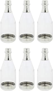 Fashioncraft Mini Silver Plastic Champagne Bottles for Wedding/Party Favors - Set of 6