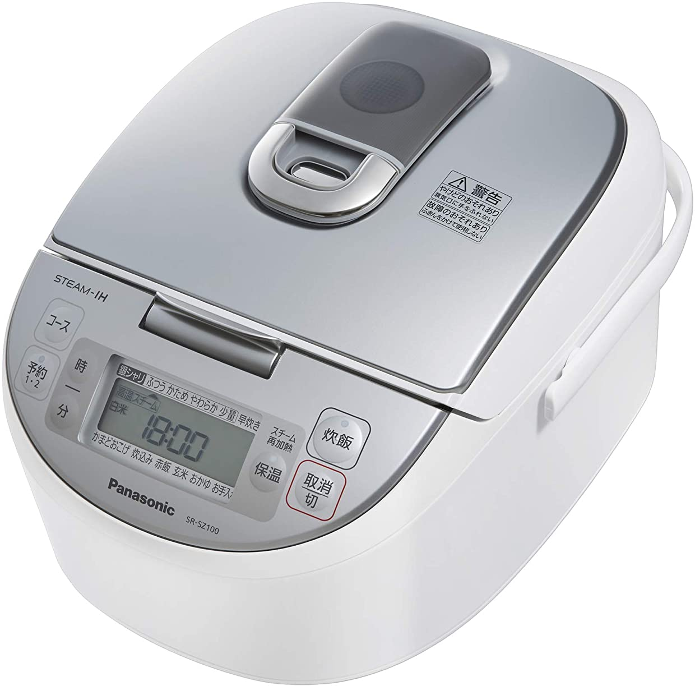 遡るユーモア助手パナソニック 炊飯器 5.5合 スチームIH式 ダイヤモンド竈釜 ホワイト SR-SZ100-W
