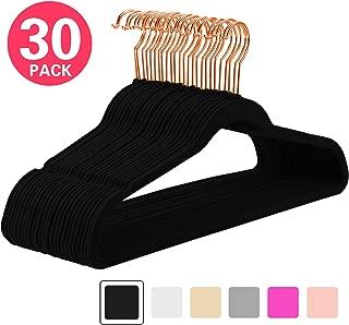 MIZGI Premium Velvet Hangers (Pack of 30) Heavyweight - Non Slip - Velvet Suit Hangers Black - Copper/Rose Gold Hooks,Space Saving Clothes Hangers (Black)