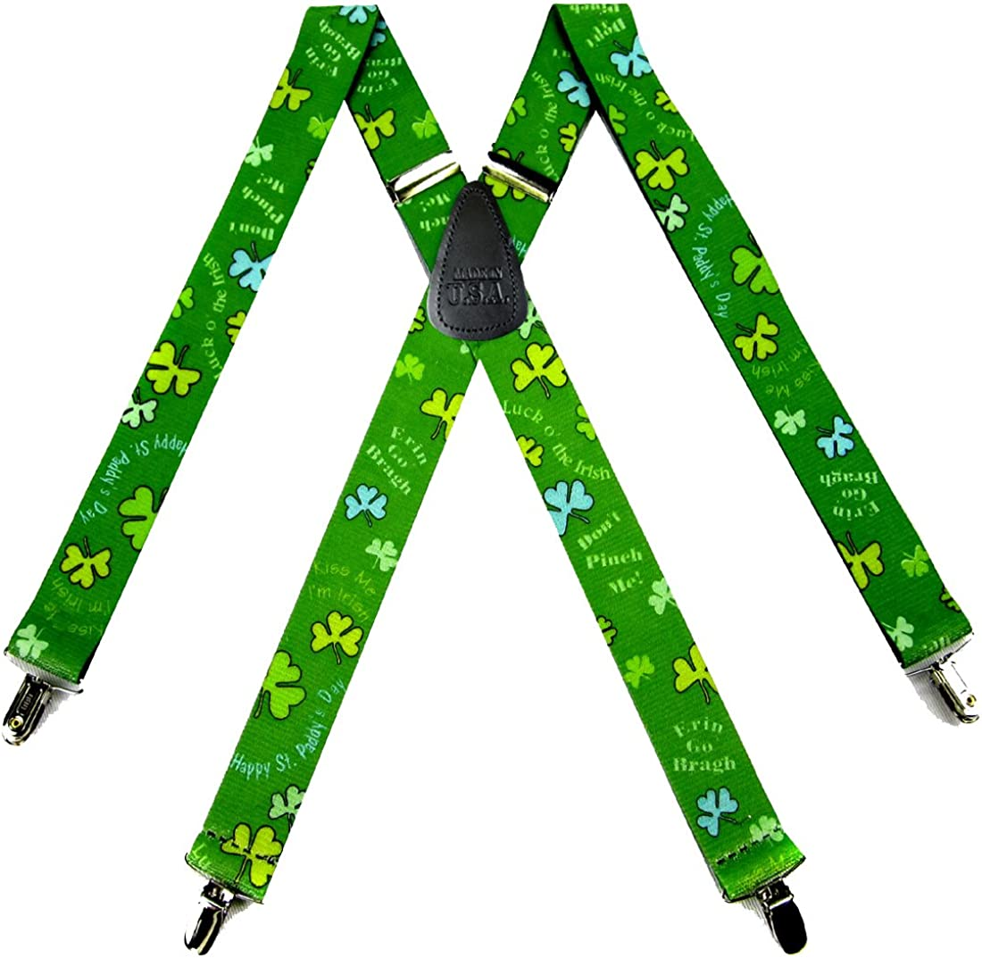 Mens St. Pats Novelty Themed Suspenders