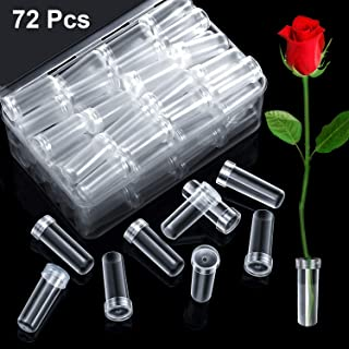 72 Pieces Floral Water Tubes Clear Plastic Flower Vials with Caps in Clear Plastic Box for Flower Arrangements (4 cm Length)
