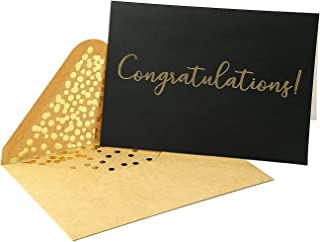 50 Pack Congratulations Card – Elegant Greeting Cards With ''Congratulations'' Embossed In Gold Foil Letters – For Engagement, Graduation, Wedding - 52 Kraft Envelopes Included – 4 x 5.75