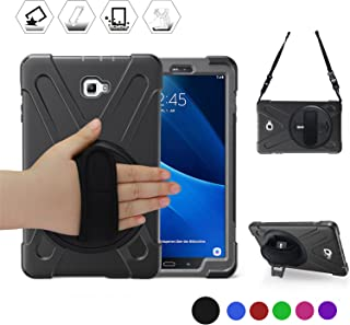 BRAECN Galaxy Tab A 10.1'' Case, Three Layer Heavy Duty Shockproof Rugged Case with 360 Degree Rotatable Stand/Hand Strap and Shoulder Strap for Samsung Tab A 10.1 SM-T580N/T585C-Kids Students(Black)