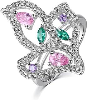 JXSJEW خواتم الزفاف 925 فضة كلاسيكية خالدة مع خواتم تصميم كريستال ملونة للنساء مقاس 6 8