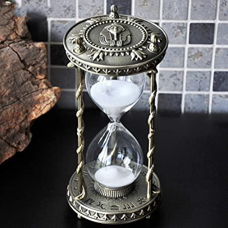 Amazon Com Antique Decorative Hourglass Sand Timer 30 Minute Unique Vintage Egyptian Metal Art Hour Glass For Office Desk Home Decor Birthday Gift Everything Else
