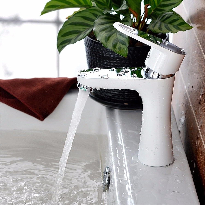 Moderne einfacheKupfer hei und kalt Wasserhhne KüchenarmaturKupfer Becken Wasserhahn weie Farbe warm und kalt Einlochmontage Waschbecken Becken Bad Schrank Wasserhahn Geeignet für Badezimmer Küche