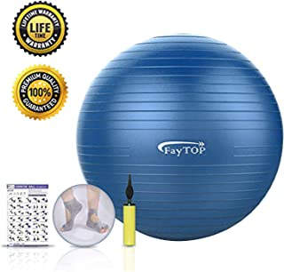 Exercise Ball,FayTOP Yoga Ball 65 cm for Fitness, Workout, Balance, Pilates, Birthing. Professional Grade Therapy Balls with Non Slip & Anti-Burst & Extra Thick, Stability Ball Chair Supports 2200lbs