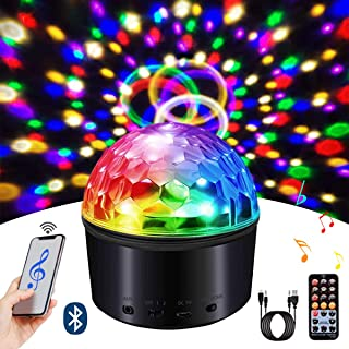 Disco Ball Light, LED Disco Ball Night Lamp 9 Colors Sound Activated Strobe Light Wireless Phone Connection with Bluetooth Speaker and Remote for Outdoor Night Light Birthday Party Dance