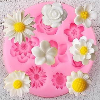XRZH Fleur Silicone Moules Plumeria Rose Daisy Chocolat Bonbons Argile Moule Bricolage Cuisson Partie Cupcake Topper Fonda...