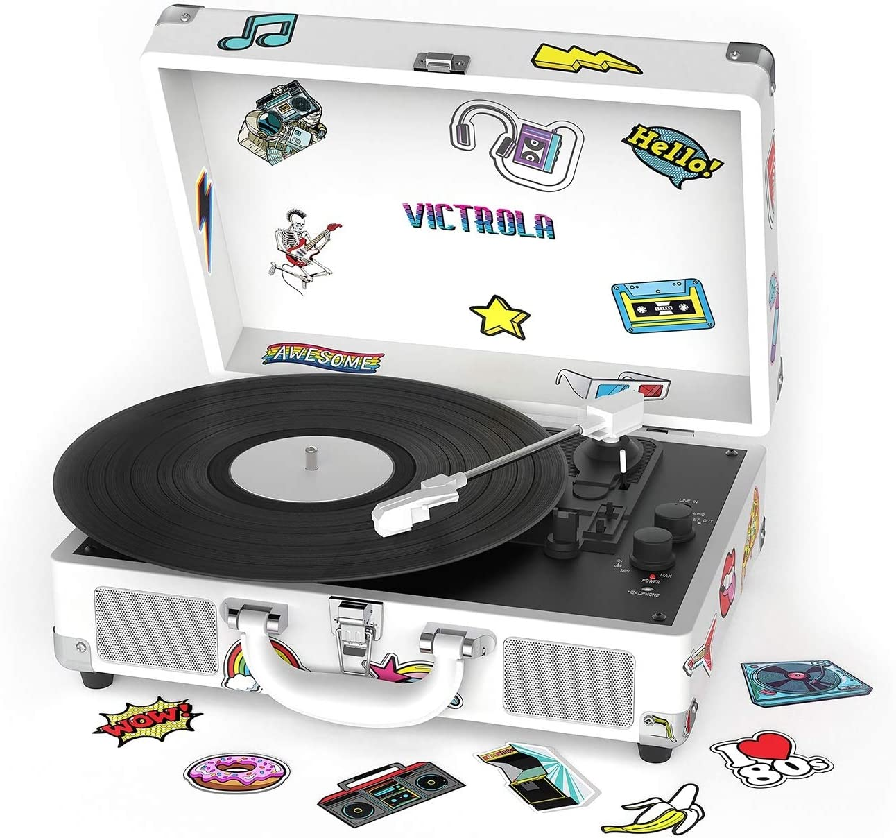 Victrola VSC-400SB-CNV Bluetooth Suitcase Turntable Canvas - Stickers (White)