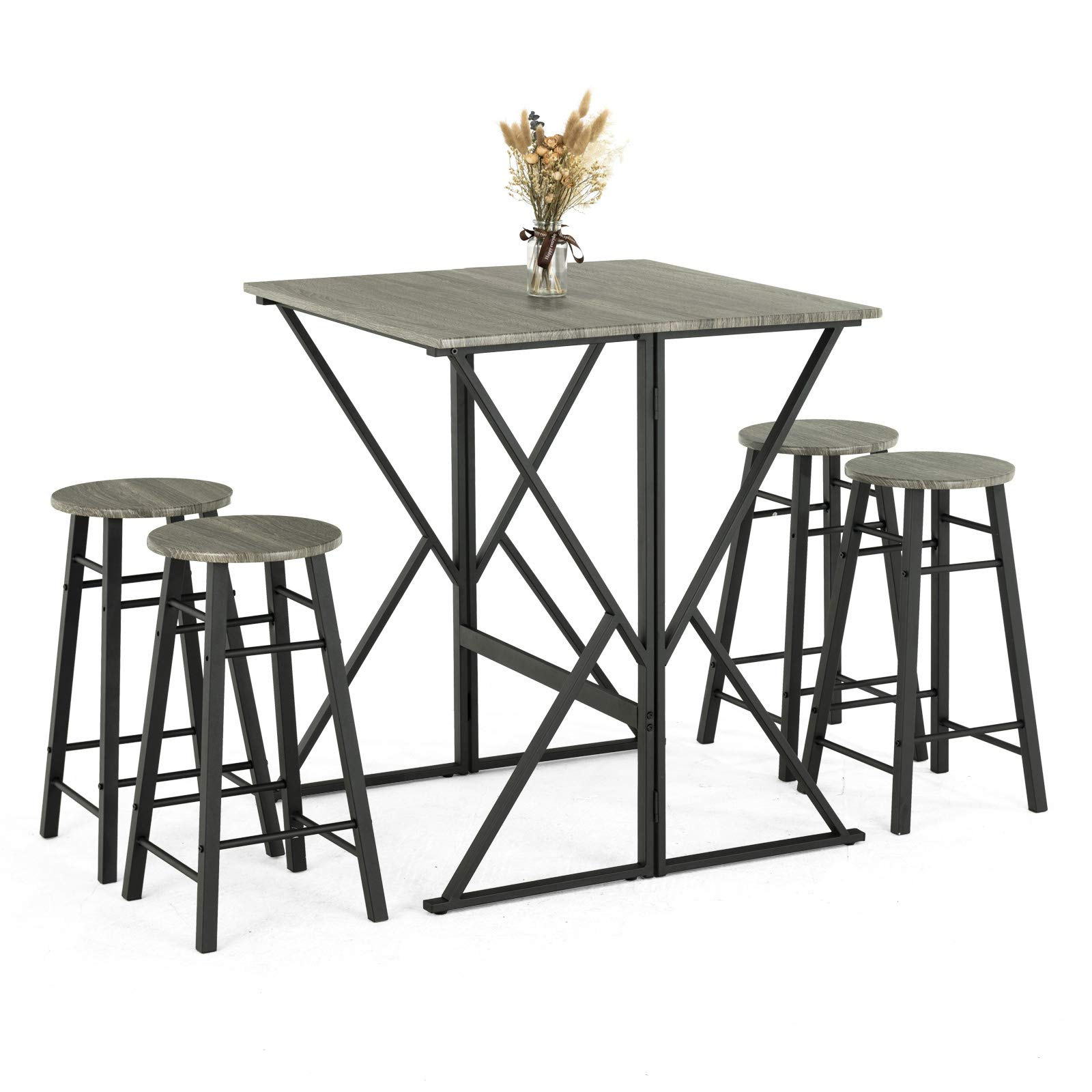 Silver Dining Table And Chairs, Mecor 5 Piece Drop Leaf Pub Dining Table Buy Online In Cambodia At Desertcart