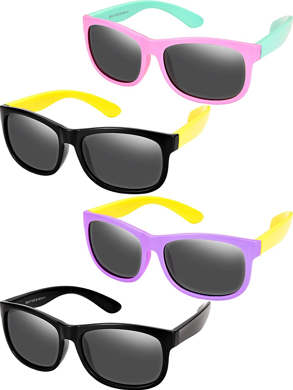4 Pieces Toddler Sunglasses Children Sunglasses Rubber Flexible Kids Sunglasses, Age 3-10