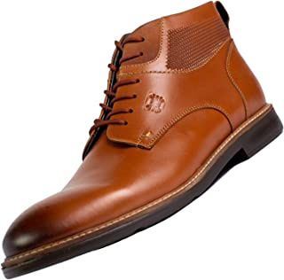 Mens Chukka Boots - Lace-Up Oxford Style Genuine Leather Rounded Toe for Business or Casual with Built in Double Flexion System Sole and Thermoconformed Memory Foam Insole - Kayser