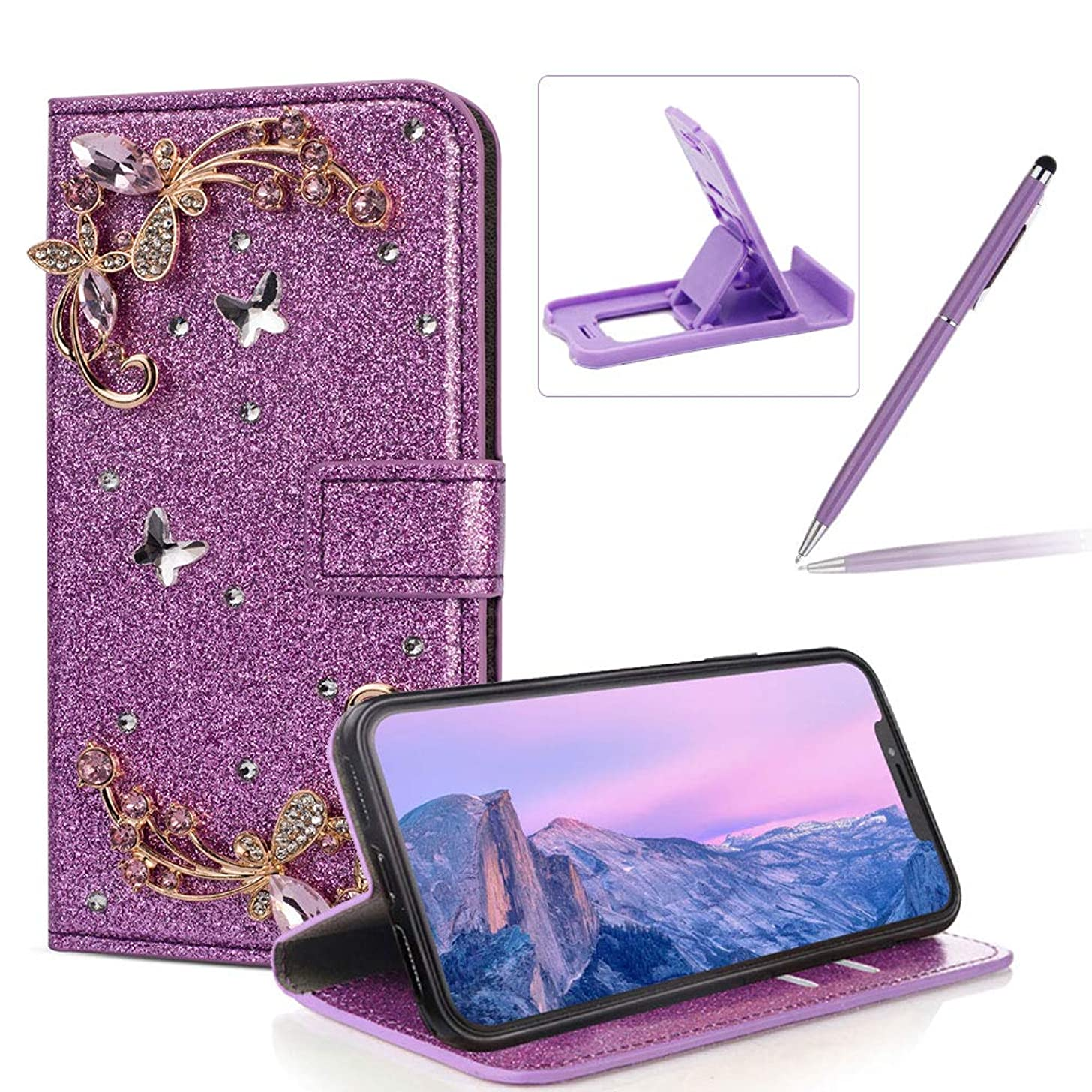 Diamond Wallet Leather Case for iPhone XR,Purple Glitter Flip Cover for iPhone XR,Herzzer Luxury 3D Flower Butterfly Decor Magnetic Stand Case with Inner Soft Rubber Case