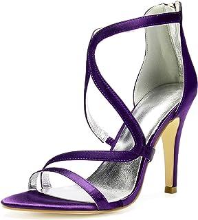 8e9024e69e6 SERAPH 81430-16 Sandalias de satén de tacón alto para mujer Zapatillas de  tiras con