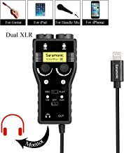 Apple Lightning Microphone Preamp for iPhone 11 X 8 7 6 Vlog, Saramonic 2-Channel Lightning Mic XLR & 6.3mm Guitar Interface for iPad iPod, iOS Smartphone Tablet YouTube Video