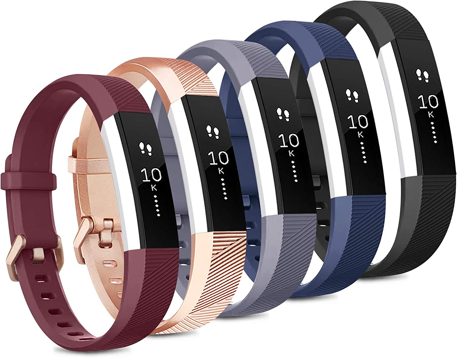 [5 Pack] Sport Bands Compatible with Fitbit Alta HR Bands and Fitbit Alta Bands Women Men, Classic Soft Silicone Replacement Wristbands Straps for Fitbit Alta HR/Fitbit Alta (5 Pack A, Small)