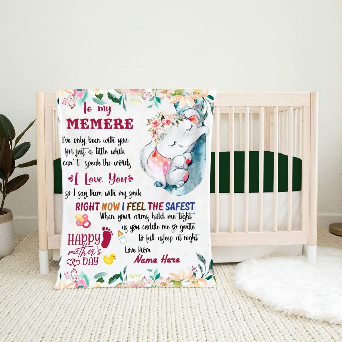 to My Memere Ranking New product! New type TOP1 Blanket First Time Graphic Gift Cute Mom Elephant