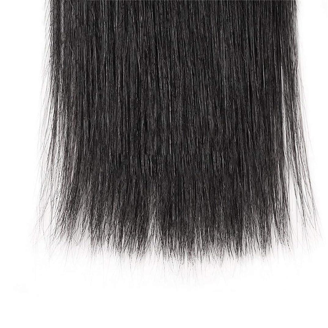 差別する継承神秘的なHOHYLLYA ブラジルのストレート人間の髪の毛の束8A絹のようなストレートヘアエクステンションナチュラルブラック(8