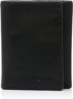 Wrangler Men's Tri Fold Wallet, Cracked Black, OSFA