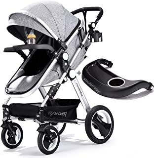 Best Infant Toddler Baby Stroller Carriage - Cynebaby Compact Pram Strollers Single Stroller add Cup Holder Footmuff Stroller Tray (Gray) Review