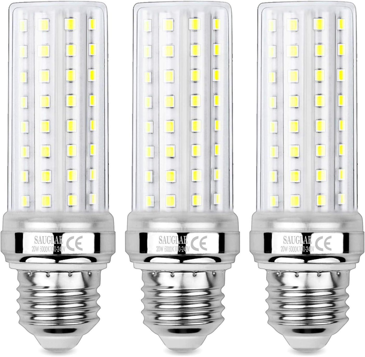 Sauglae Bombillas LED de Maíz de 20W, Bombillas Incandescentes Equivalente de 150W, Blanco Frío de 6000K, 2000 lm, Bombillas de Tornillo Edison E27, 3 Piezas