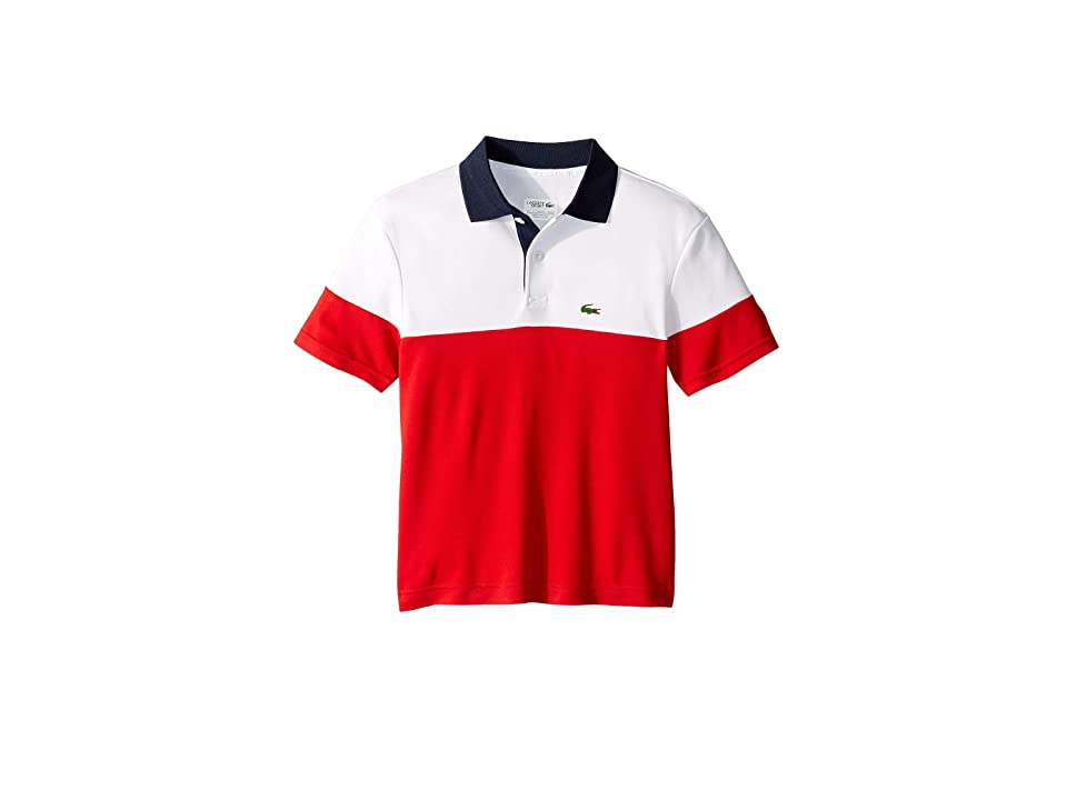 Lacoste Kids Poly Color Block Polo (Little Kids/Big Kids) (White/Red/Navy Blue) Boy's Clothing