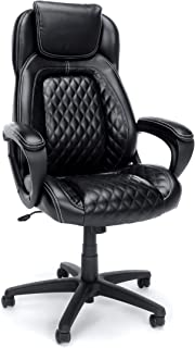 OFM Essentials Collection Racing Style SofThread Leather High Back Office Chair, in Black (ESS-6060)