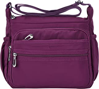 NOTAG Crossbody Bag for Women Waterproof Shoulder Bag Messenger Bag Casual Nylon Purse Handbag (Large, Purple)