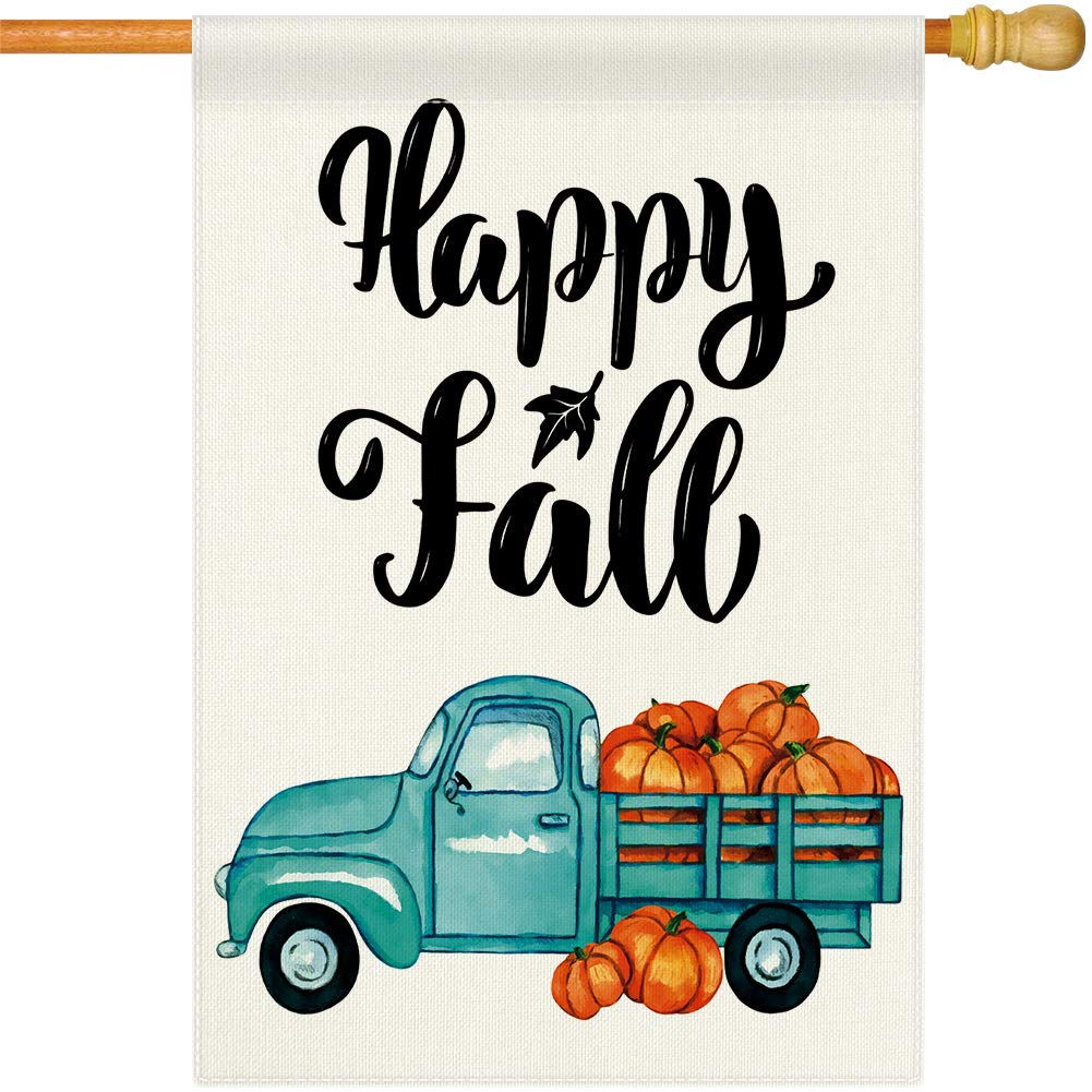 Dsweesun Happy Fall Vintage Blue Truck discount Flag x 4 House Cheap super special price 28 Pumpkin