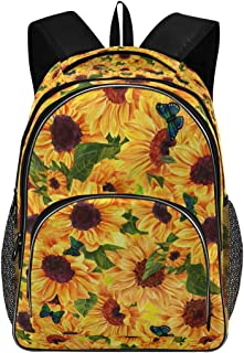 ALAZA Vintage Sunflower with Butterfly Travel Laptop Backpack College School Computer Bag for Boys Girls