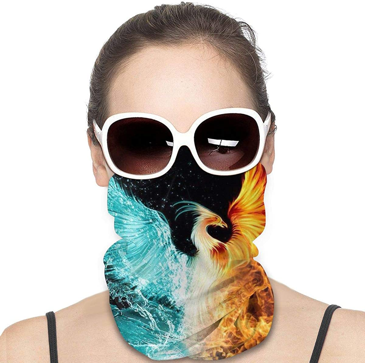 JinSPef Bandana Face Mask - Fire Water Phoenix Golden Red Burning Birds Motorcycle Mask Ski Mask Face Scarf Head Bands Neck Warmer Men Headbands Face Mask Bandana