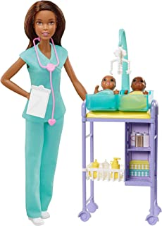 Barbie Baby Doctor Playset with Brunette Doll, 2 Infant Dolls, Exam Table and Accessories, Stethoscope, Chart and Mobile f...